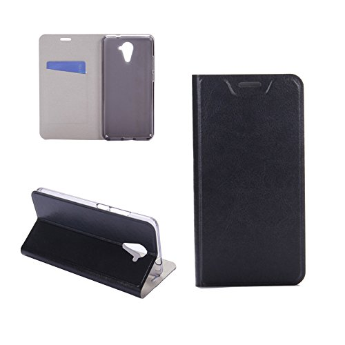 Digital Bay Hülle WIKO U Feel Prime Taschen [Flip Armor] Kartenfach [Diamant Schwarz] Doppelte Schutzschicht mit Luftpolster-Kantenschutz - Card Holder Schutzhülle, Jet Black
