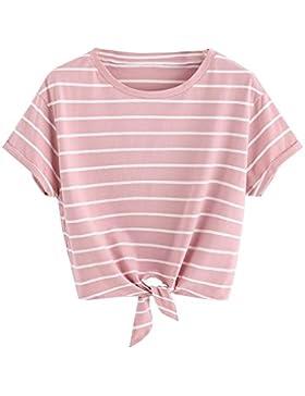Tomwell Donna Collo Rotondo Strisce di Moda Crop Tops Maniche Corte Blouse T-Shirt Magliette Camicetta Camicia