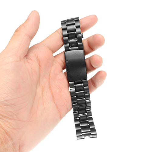 K8U156 @FATO 22mm Black Stainless Steel Metal Watch Band Strap for Moto 360 1st Watch+ Tools (Watch Band 22mm Mesh Metal Black)
