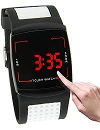 Relojes Hermosos, Reloj de la pantalla táctil de la luz del LED rojo con la venda de reloj del silicón ( Color : Blanco )