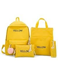 OneMoreT 2019 - Juego de 4 mochilas de lona para mujer, amarillo