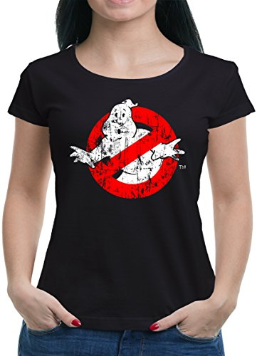 TLM Ghostbuster Distressed T-Shirt Damen L Schwarz (Distressed Bier)