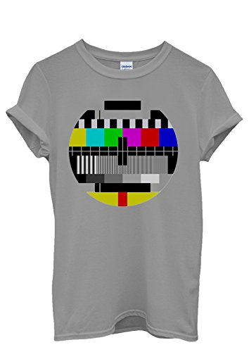 Test Pattern Vintage Retro TV Cool Funny Men Women Damen Herren Unisex Top T Shirt Grau