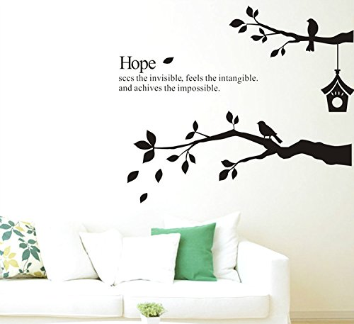 Black Tree Wall Stickers,Yanqiao Hope English Letters Wall Quotes Cartoons  Birds On The Branches Home Decorations For Living Room Kids Room Nursery ... Part 39