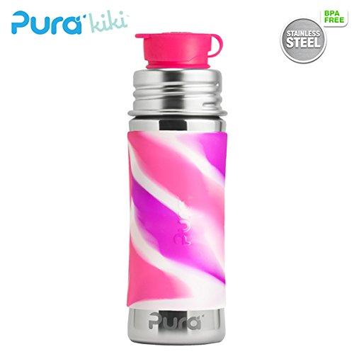 PuraSport™ Flasche 300ml - BigMouth™ Aufsatz (inkl. Silikonüberzug) Pura Farbe/Design Blank + Pink Swirls Überzug