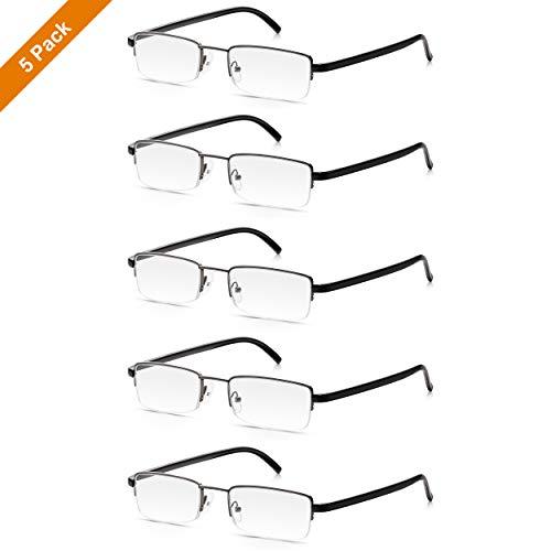Lesebrillen 5er Set: Read Optics Herren Brillen in Stärke +3,0. Zeitloses Design mit Halbrand. Mit hochwertigen Gläsern und klassischem Stil in Grau und Schwarz. Preiswert und praktisch im Fünfer Pack