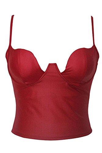 mywy - Top donna corpetto ecopelle senza maniche chiusura zip posteriore sexy simil pelle Rosso