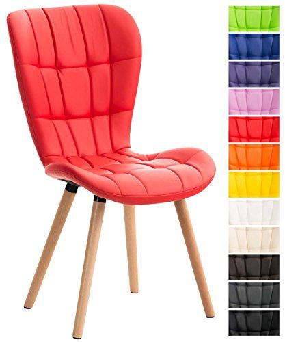 CLP Esszimmerstuhl ELDA mit hochwertiger Polsterung und Kunstlederbezug   Lehnstuhl mit robustem Holzgestell   Polsterstuhl mit stilvollen Ziernähten   In verschiedenen Farben erhältlich Rot