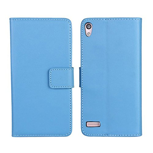 Huawei Ascend P6 Hülle,COOLKE [Blau] New PU Leather Wallet With Card Pouch Stand Case Cover für Huawei Ascend P6 Schutzhülle Hülle Schutzschale