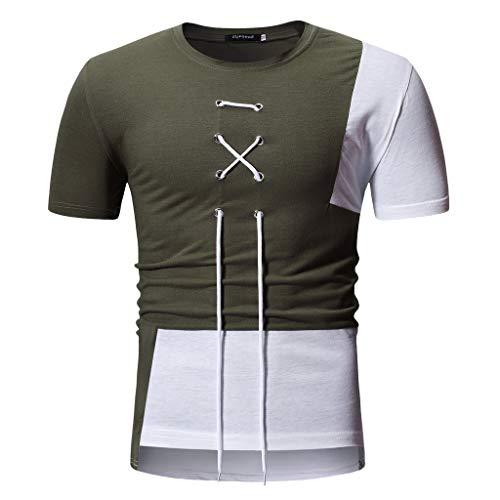CICIYONER Herren Tshirts Sommer Patchwork Bindeband Kurzarm T-Shirt Top Bluse Schwarz rot grün M L XL XXL