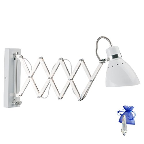 Scherenlampe Scharnier Wandleuchte Industrial Weiss Fassung E27 Wandlampe ausziehbar für LED und Glühlampe mit Dimmer + Giveaway - Durch Schnur-dimmer