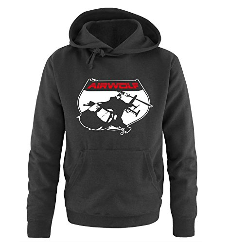 AIRWOLF - LOGO V - Herren Hoodie by Comedy Shirts Schwarz / Weiss-Rot