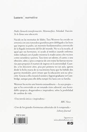 Resumen del libro de Tara Westover UNA EDUCACIÓN