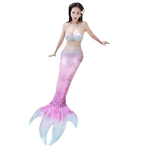 JYSPORT Damen Meerjungfrauen Bikini Schwimmen Bademode Badeanzug Kostüm mit Meerjungfrau schwimmflosse Flossen (pink, XL)