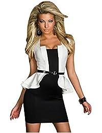 Blansdi Sexy Slim Peplum Mini Soirée Robe de cocktail affaires Clubwear avec ceinture