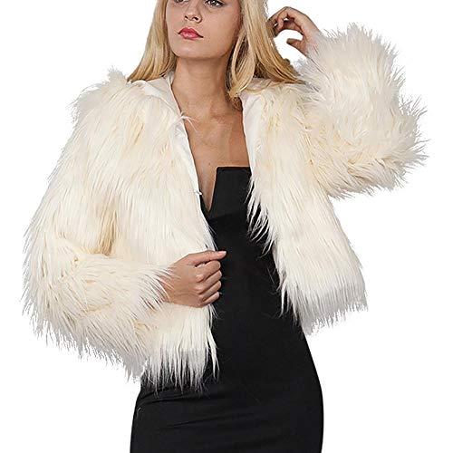 Damen Jacket Lang Mantel Sweatjacke Pullover Sweatshirt Langarm Winterjacke Funktions OutdoorjackeWarm Faux Fur Coat Jacket Winter Solid Hooded Parka Outerwear (Beige,L)