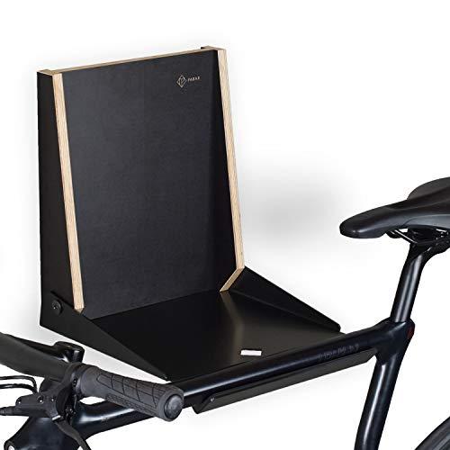 PARAX Klappbare stilvolle Fahrrad-Wandhalterung/Fahrradaufbewahrung/Wandhalter Fahrrad/Made in Germany - L-Rack passend für Rennrad Hardtail Cityrad Tourenrad - schwarz oder weiß (schwarz)