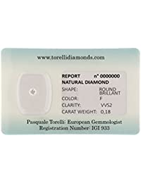 Torelli Diamond Brilliant Cut F/VVS2, 0. 18 ct