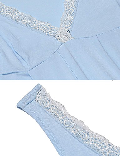 Ekouaer Damen Nachtkleid Schlafkleid Unterkleid V-Ausschnitt Sleepwear mit Spitze Hellblau