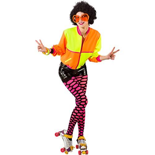 Kostüm 80er Roller Disco - Amakando Auffällige Jacke für Frauen Roller-Girl / Neongelb-Neonorange in Größe 42/44 (M/L) / Knalliger Damen-Anorak Disco-Style / EIN Blickfang zu 80er-Party & Mottoparty