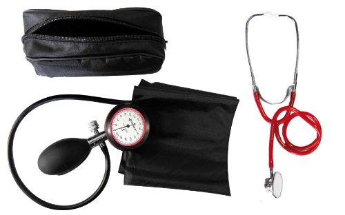 Blutdruckmessgerät Oberarm 1-Schlauch + Stethoskop Doppelkopf rot Doppelkopfstethoskop zertifizierte Klinikqualität, 1 Jahr Garantie, 1 Stück (1Set) 1 Jahr Appliance