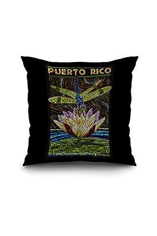 Puerto Rico - Dragonfly Mosaic (18x18 Spun Polyester Pillow Case, Black Border)