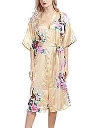 Feoya Mujer Pijama Bata Ropa de Dormir Kimono Largo Estampado Floral y Pavo Robe Sleepwear