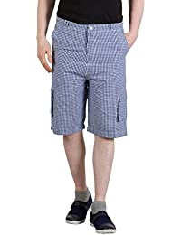 Hypernation Blue And White Checkered Cotton 3/4th
