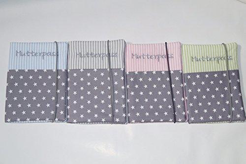 Mutterpasshülle personalisiert aus Baumwolle grau beige gestreift mit Gummiband