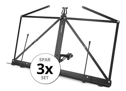 3x Set McGrey Tischnotenpult faltbar (sehr kompakt, Neigung stufenlos verstellbar, mit Notenklemmen, Metallausführung, inkl. Etui) Schwarz