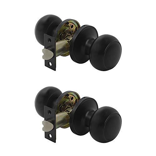 Keyless-Passage Tür Hebel Türgriffe Lock Schwarz Tür Griffe Hardware Hall Leverset Flanschbefestigung 2Pack Door Knob-609 2er-Set ()