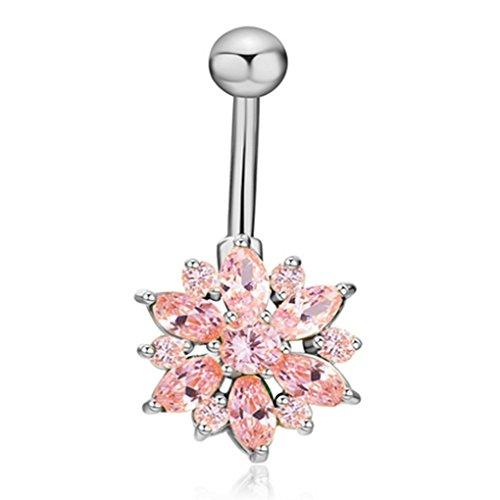 Eleery Blumen-Kristallrhinestones-Bauch-Nabel-Stab-Ring-Körper-Piercing bauchnabelpiercing (Silber Rosa)