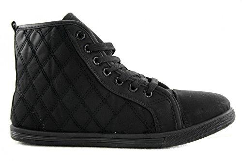 Chaussures Baskets Aspect cuir chaud Motif surpiqué Hi Top Chaussures Femme sportif z7549 Noir - Noir