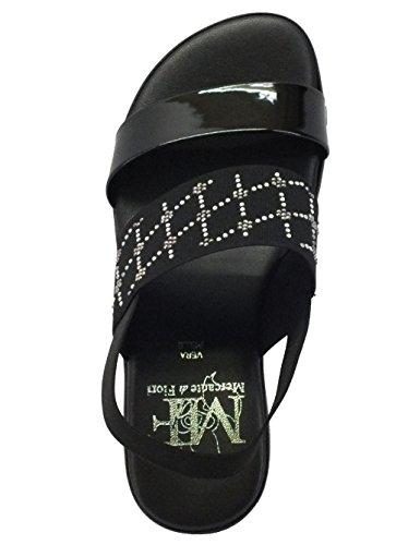 Sandali Mercante di Fiori in tessuto nero e strass argento zeppa bassa Nero