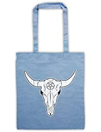 Buffalo Skull Illustration Bolsa de Asas, Azul Cielo
