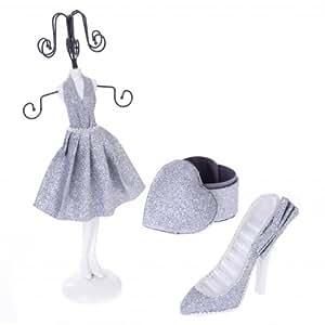 Coffret à bijoux 3 pièces : Mannequin porte bijoux Chaussure porte bagues et Boite à bijoux pour suspendre et ranger bagues, bracelets, colliers et boucles d'oreilles