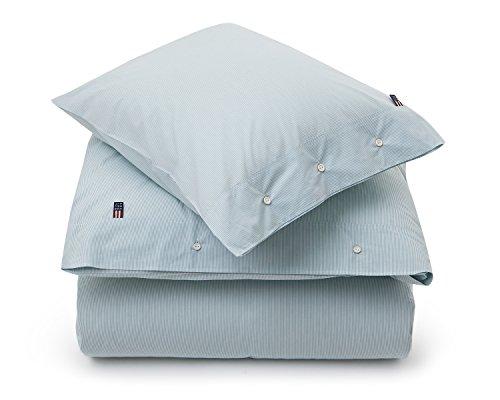 Lexington Mini Stripe Popeline Bettbezug, weiß/grün, Queen (Stripe Bettwäsche Aus Mini Baumwolle)