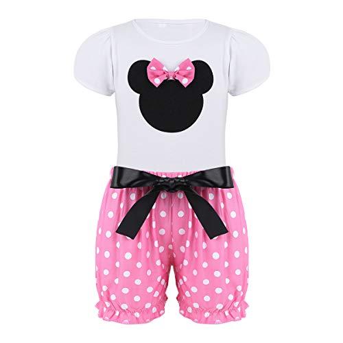 Agoky Mädchen Kurzarm T-Shirt mit Maus Motiv und Schleife Kurze Hose Shorts Rosa Weiß gepunktet süße Kleidung Set Party Einschulung Outfit Kostüm Weiß&Rosa 86-92/18-24 ()
