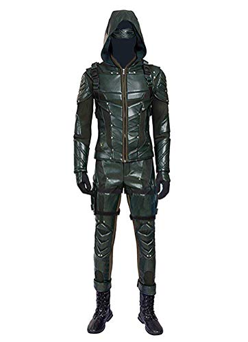 Kostüm Arrow Green Cosplay - Qian Qian Herren PU-Leder Kampf Anzug Bogenschütze Halloween Cosplay Kostüm Outfits (S, Grün)