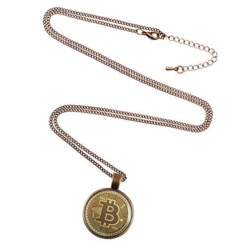 Mylery Hals-Kette mit Motiv Bit-Coin Krypto-währung Münze bronze 28mm - 2