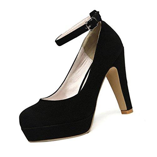 TOOGOO(R) Femmes Plate-forme de Talon Haut Talon Aiguille Boucle Cheville Boucle Pompes Faux Daim Chaussure Noir Taille 37