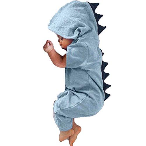 BriskyM Baby-Kleinkind-Jungen-Mädchen-Dinosaurier-Spielanzug-Overall-Halloween-Kostüme (Blau, 12-18 Months)