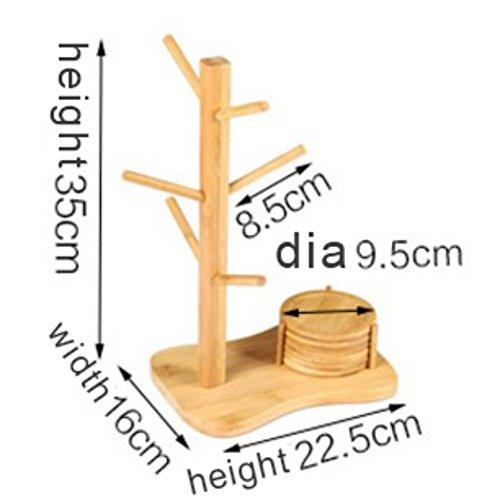Arbre de support de tasse, support de cintre de Qlan avec le support de tasse en bambou amovible de 6 crochets