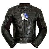 4LIMIT Sports Herren Motorradjacke Leder Streetbandit Biker Rocker Motorrad Jacke Lederjacke Schwarz, Größe 6XL