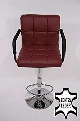 Barstools wine-red REAL LEATHER Swivel height adjustable upholstery produced by HeuSa GmbH - quick delivery from UK.
