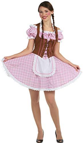 Karneval-Klamotten Dirndl Kostüm Damen rosa weiß braun mit Schürze Größe 40