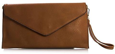 Big Handbag Shop Womens Faux Leather Envelope Clutch Bag with Long Shoulder Strap (Medium Tan)