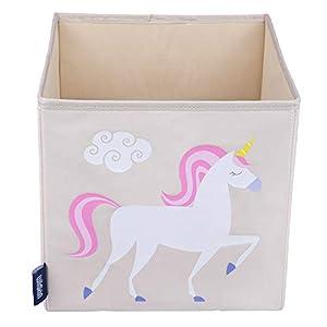 Wildkin W640803 Unicornio - Cubo de Almacenamiento para niños, Color Beige