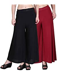 OOPLI Pack-2 Elastic Waist Wide Leg Flared Lycra Palazzo Pants For Women's-Free Size