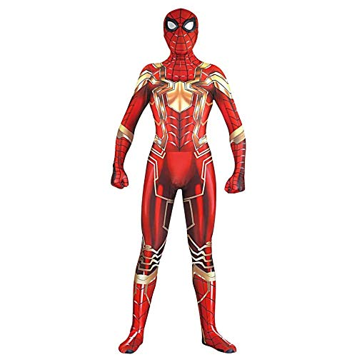 Halloween Einzigartige Kostüm Familien - QTCWRL Cosplay Kostüm, Stahlversion Spiderman Kostüm Cosplay Kostüm Halloween Weihnachten Maskerade Kostüm (Color : Gold, Size : XXXL)